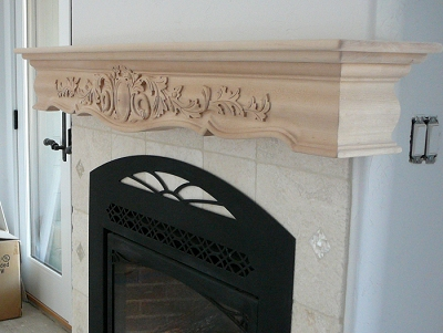 Custom Wood Fireplace Mantel Heart